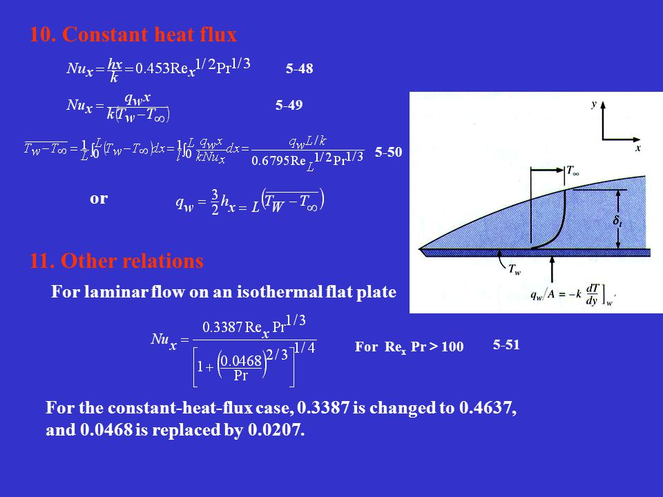 10. Constant heat flux 11. Other relations or