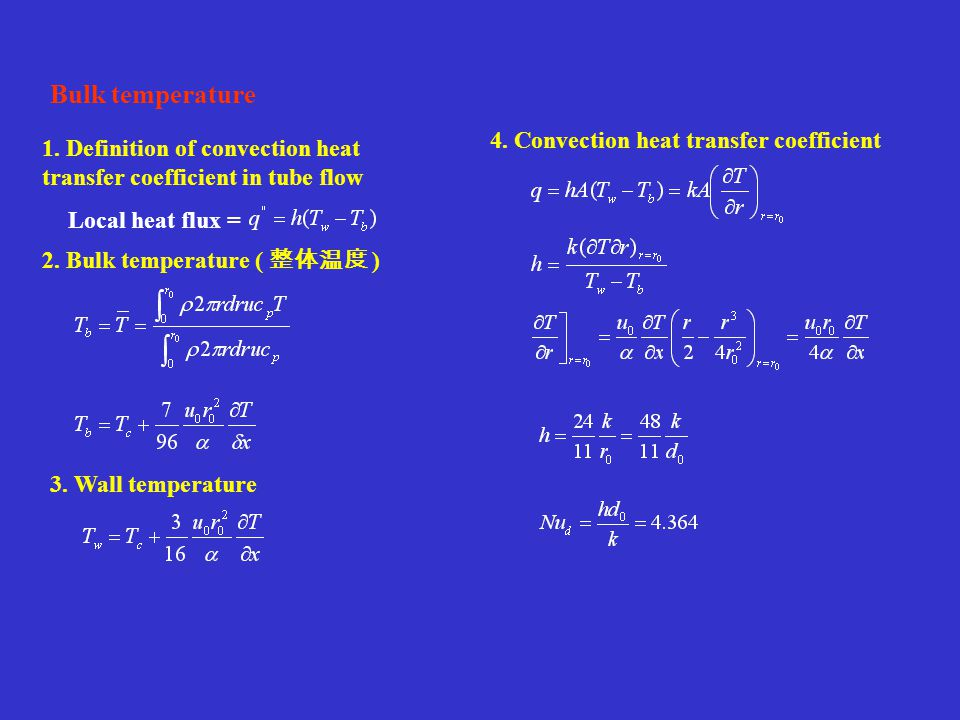 Bulk temperature 4. Convection heat transfer coefficient