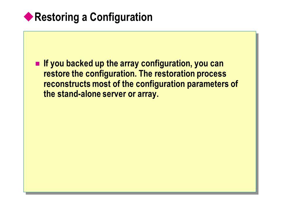 Restoring a Configuration