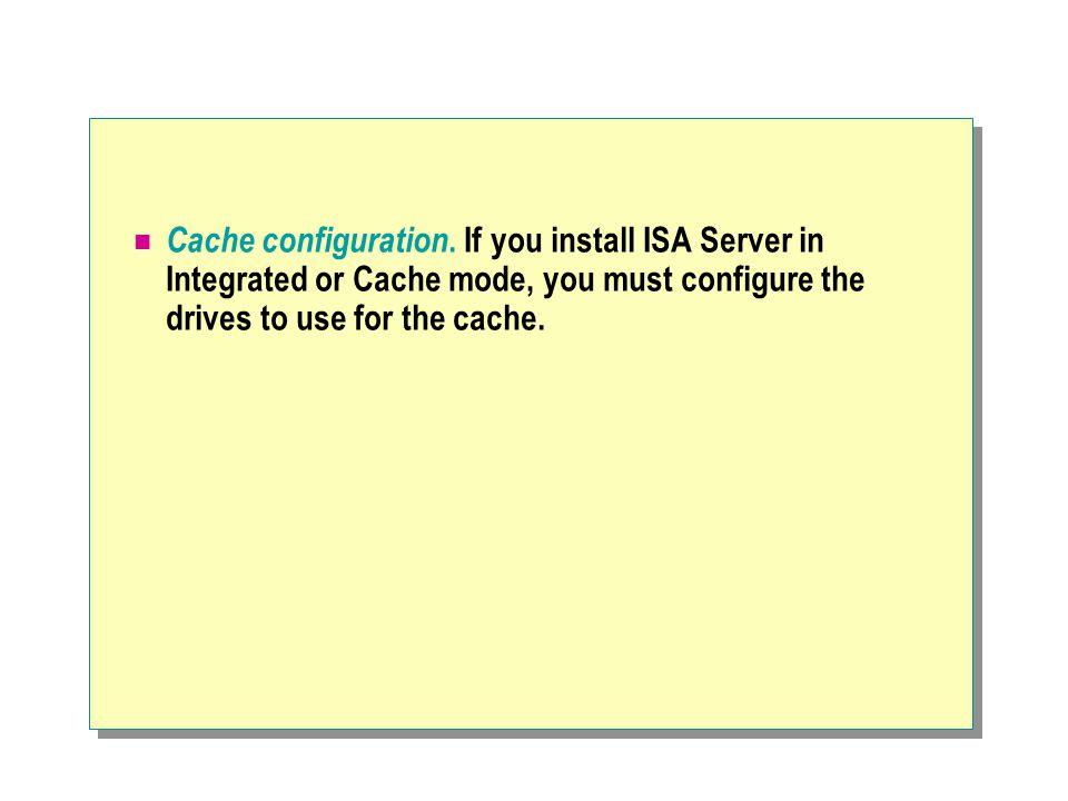 Cache configuration.