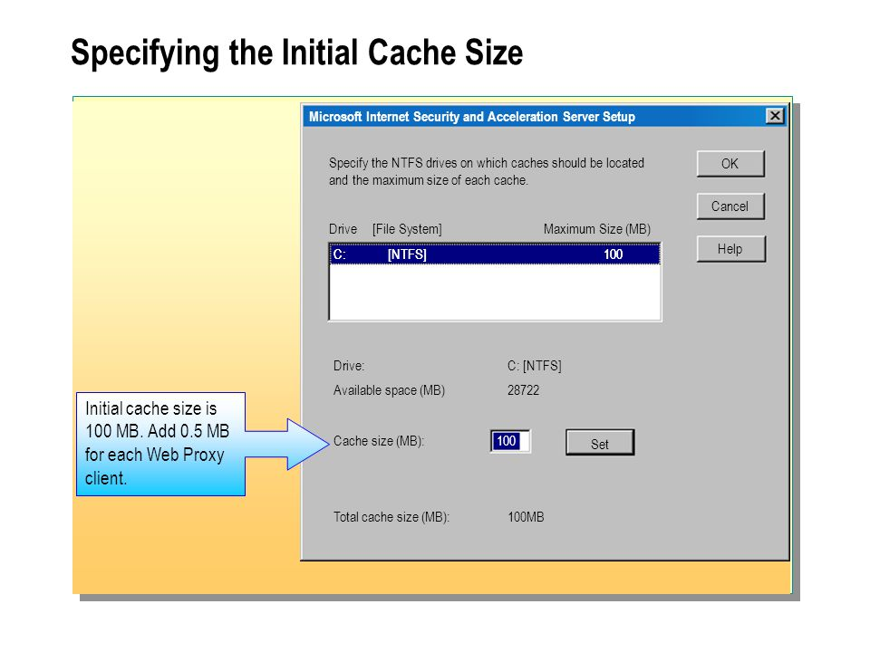 Specifying the Initial Cache Size