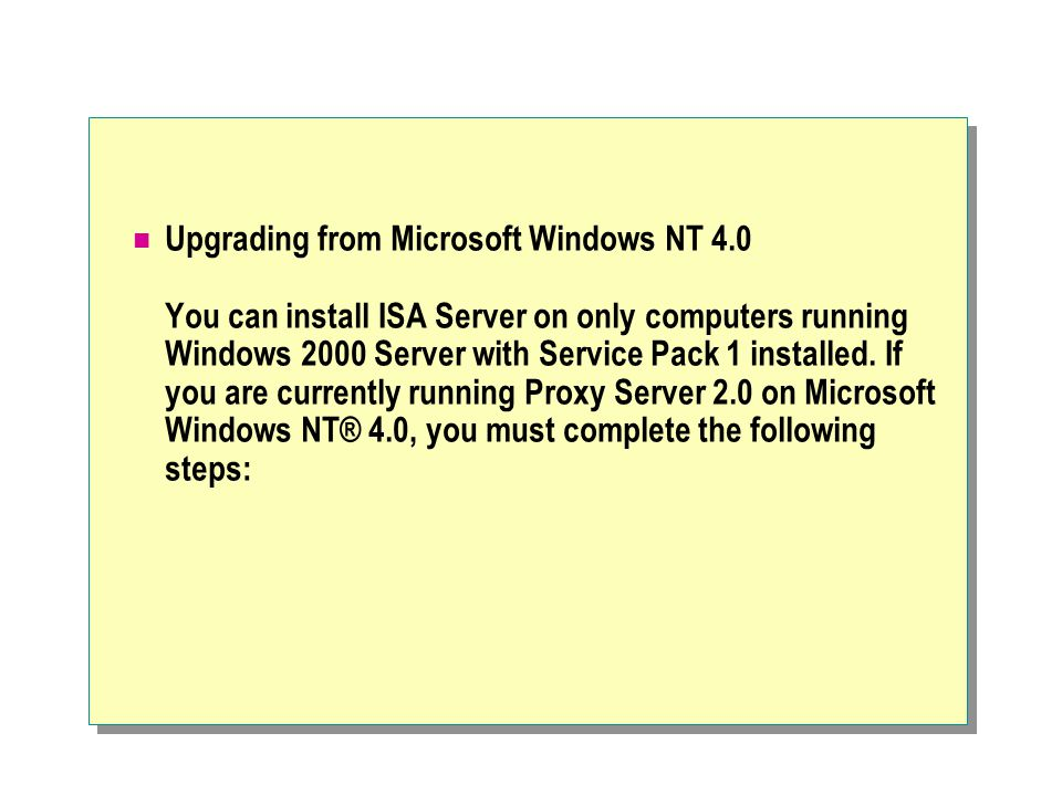 Upgrading from Microsoft Windows NT 4