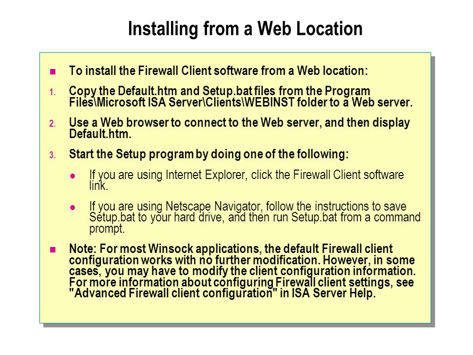 Installing from a Web Location