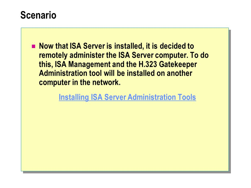 Installing ISA Server Administration Tools