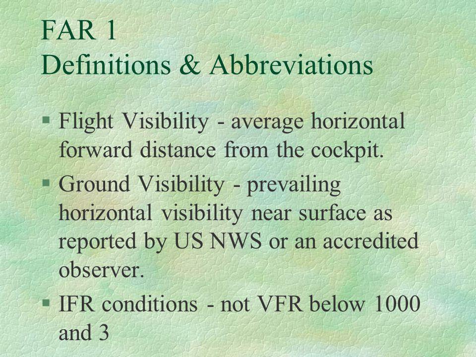 FAR 1 Definitions & Abbreviations
