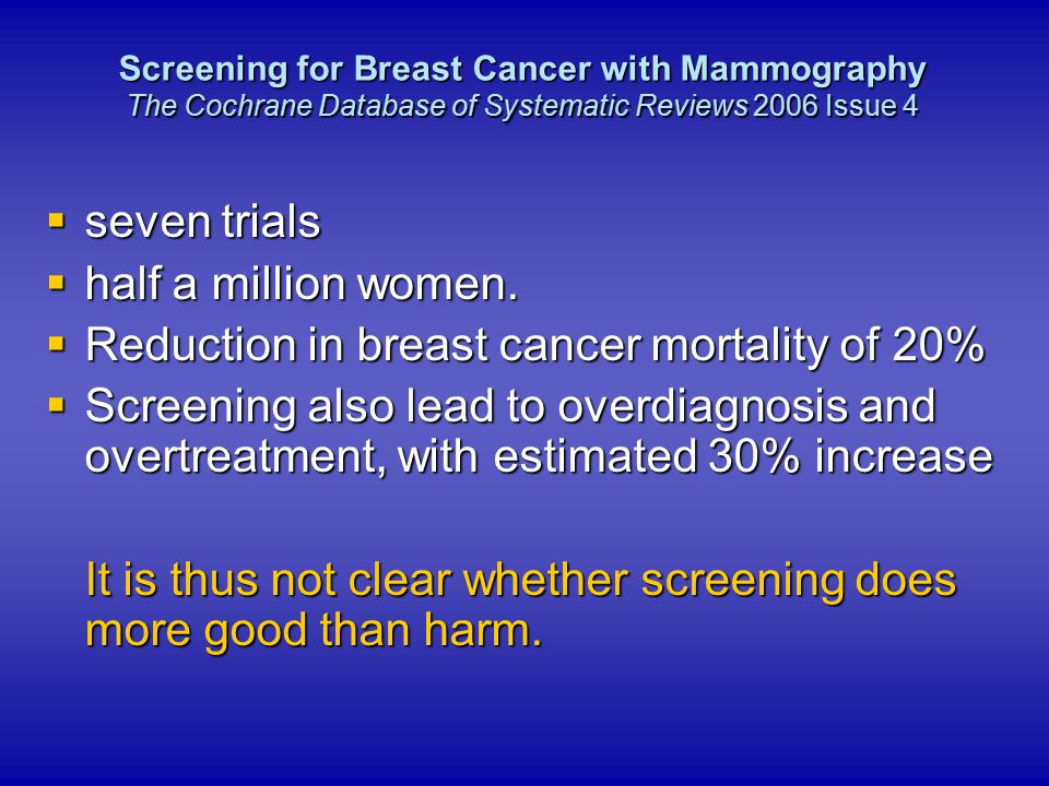 Reduction in breast cancer mortality of 20%