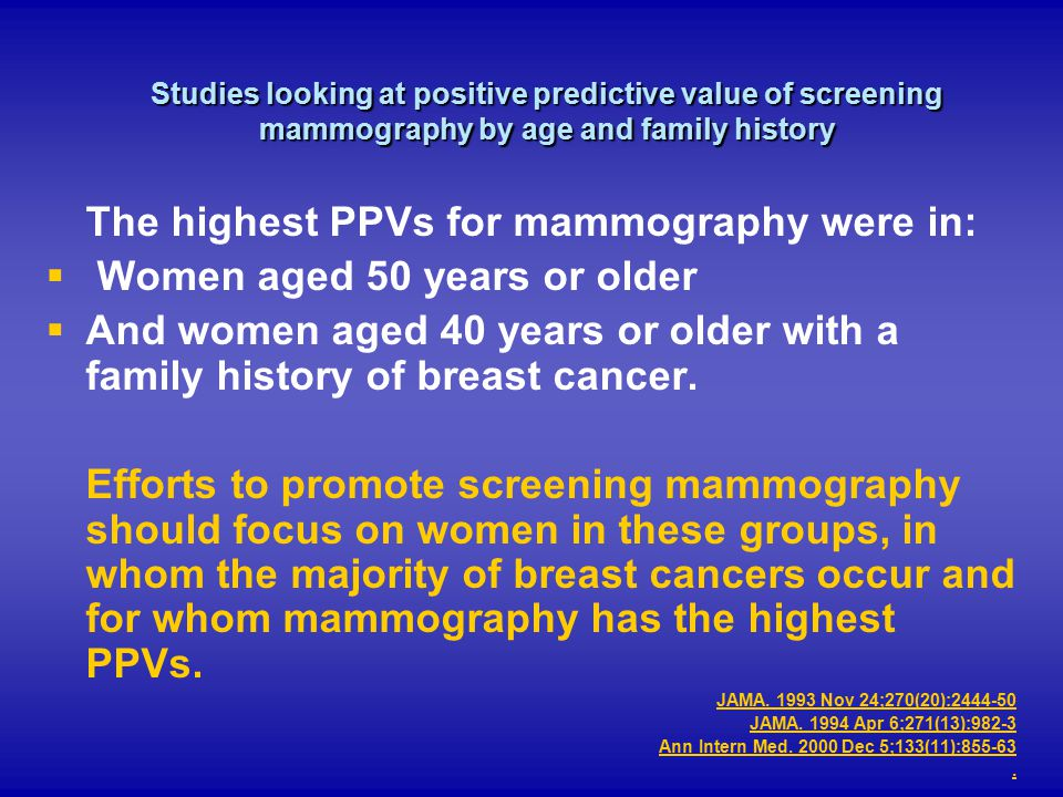The highest PPVs for mammography were in: Women aged 50 years or older