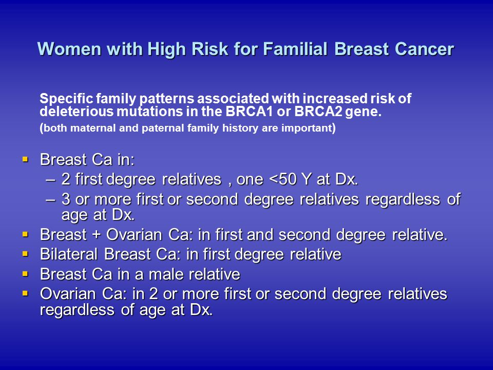 Women with High Risk for Familial Breast Cancer
