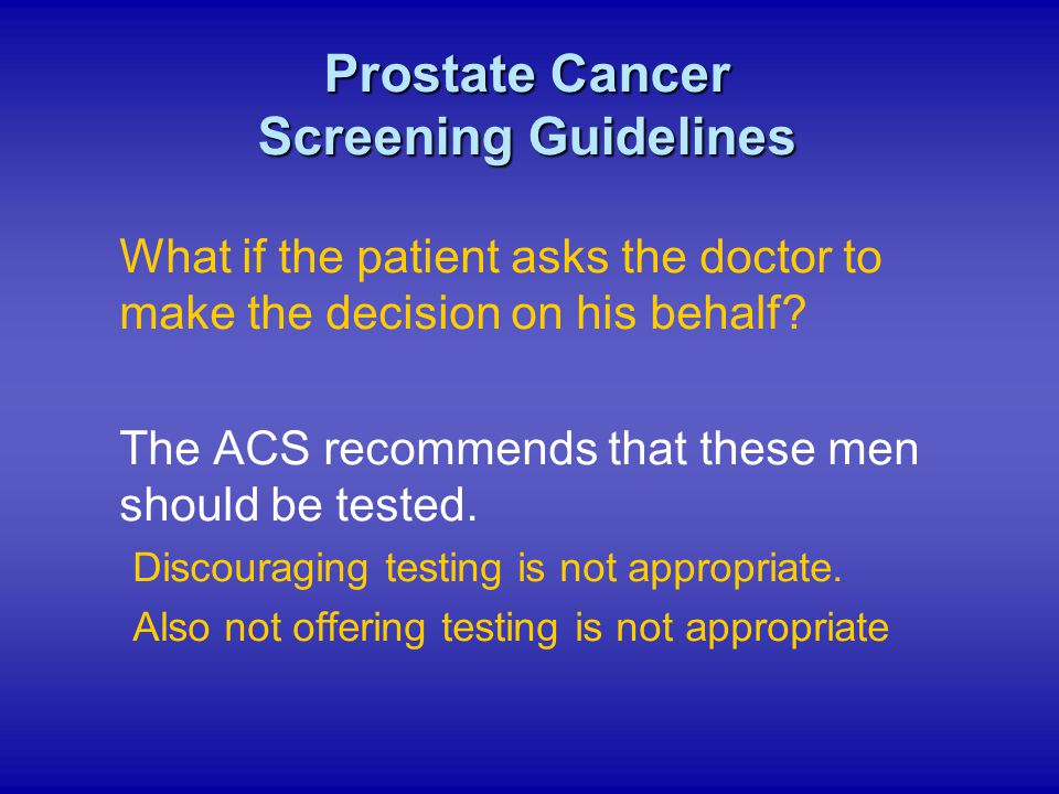 Prostate Cancer Screening Guidelines