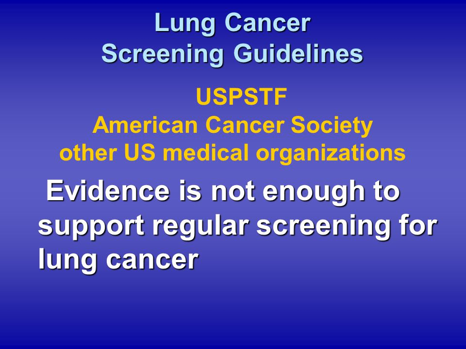 Lung Cancer Screening Guidelines