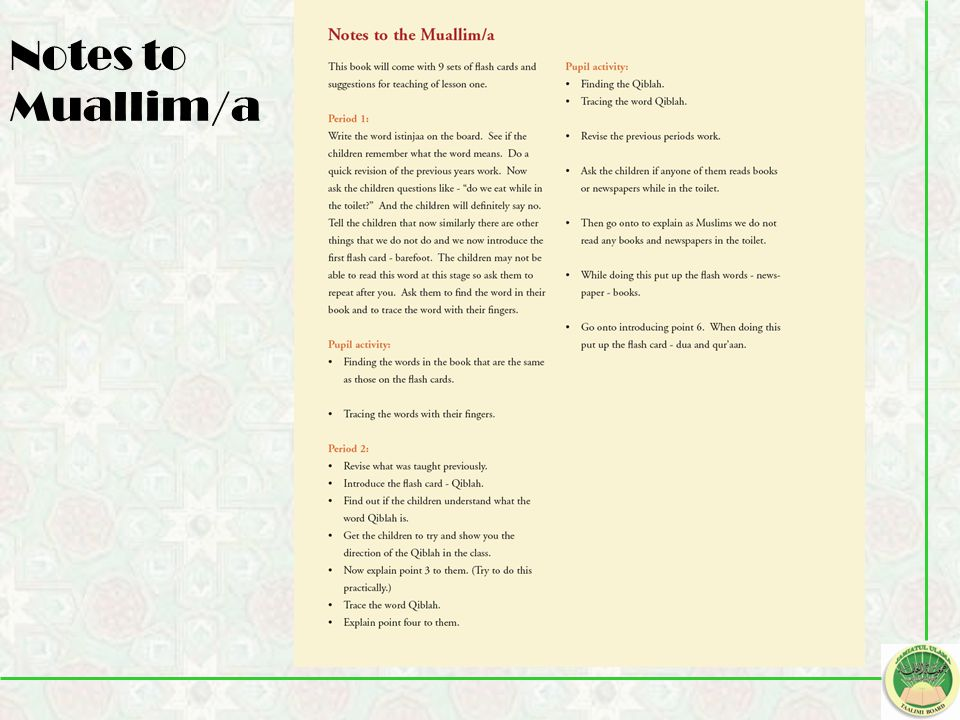 Notes to Muallim/a