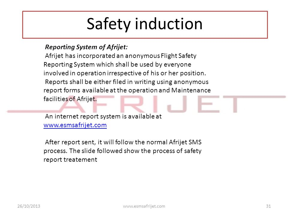 Safety induction Reporting System of Afrijet: