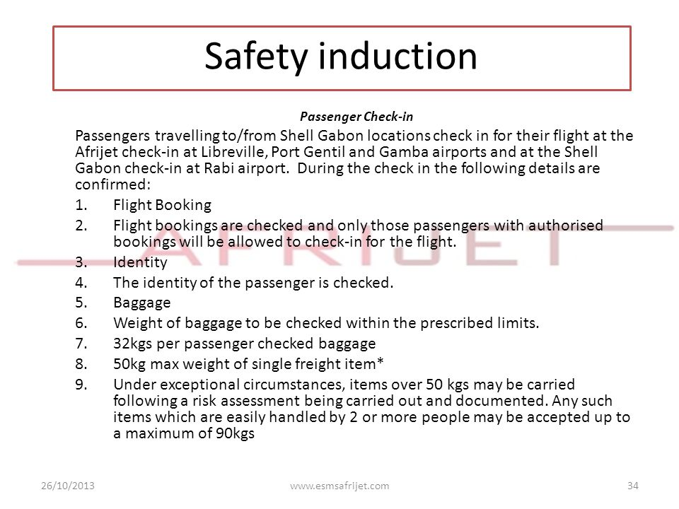 Safety induction Passenger Check-in.