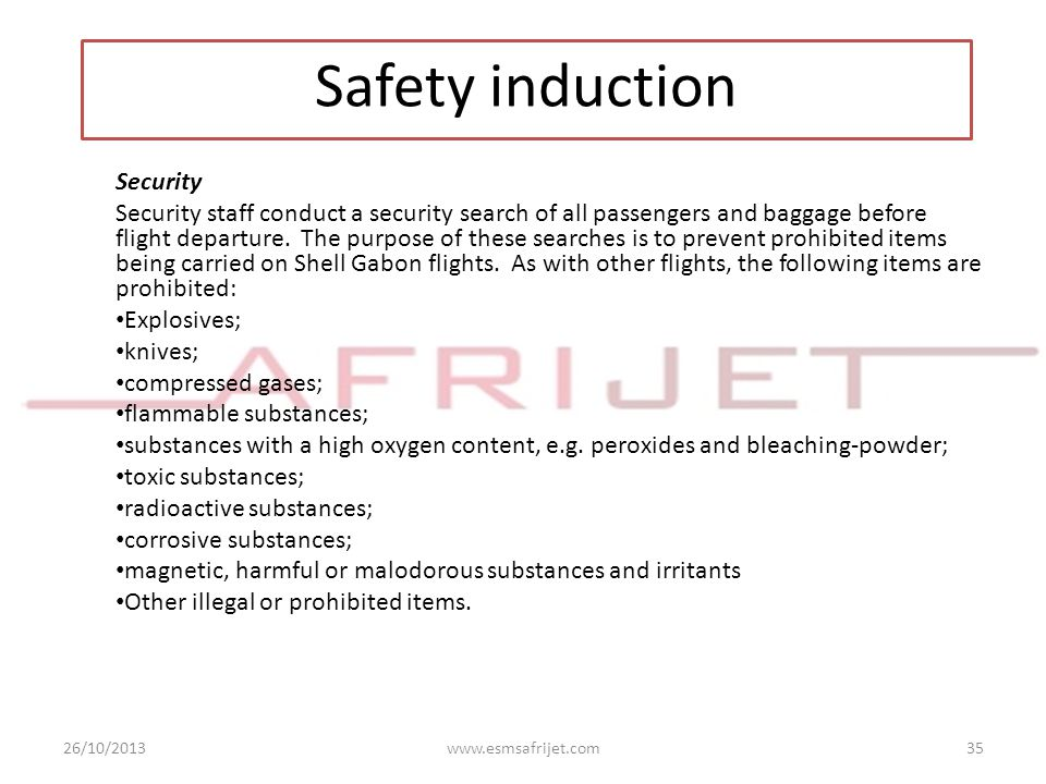 Safety induction Security
