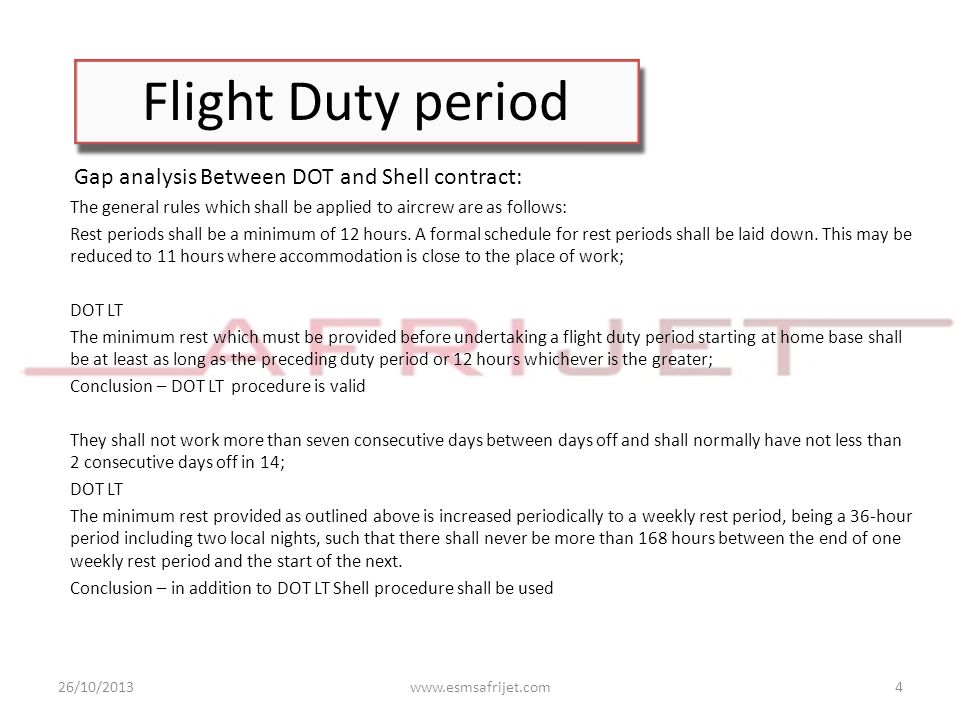 Flight Duty period Gap analysis Between DOT and Shell contract: