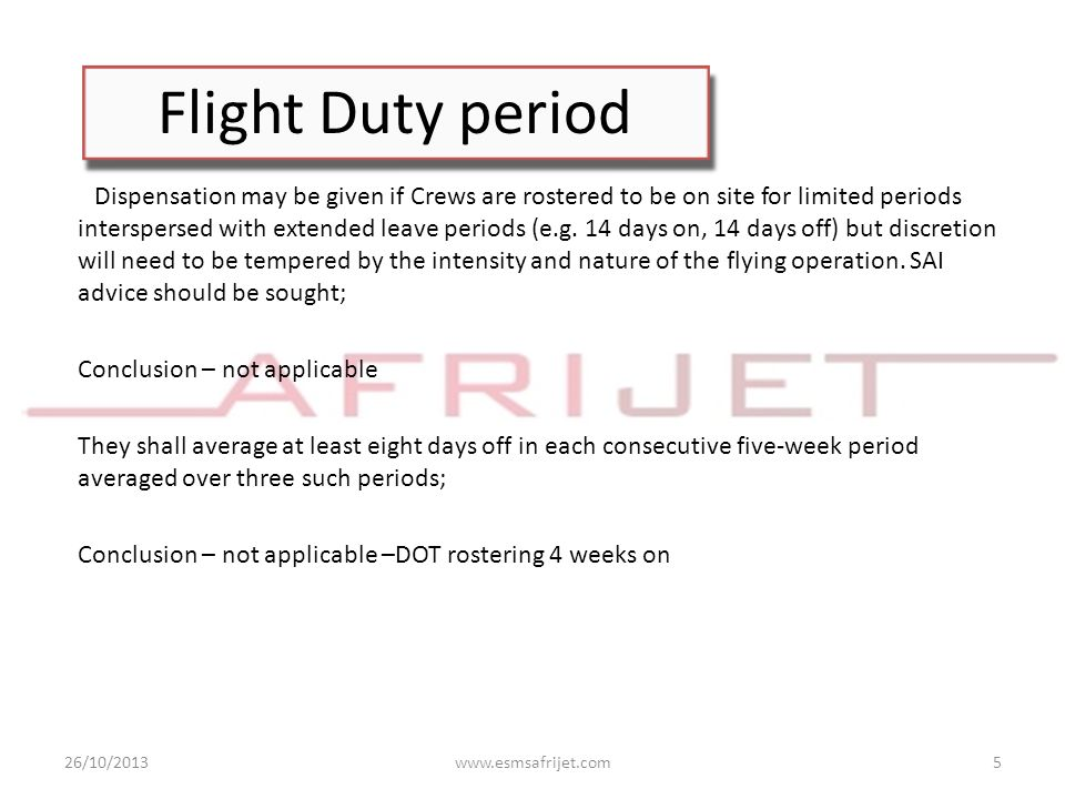 Flight Duty period Conclusion – not applicable