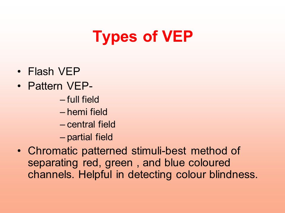 Types of VEP Flash VEP Pattern VEP-
