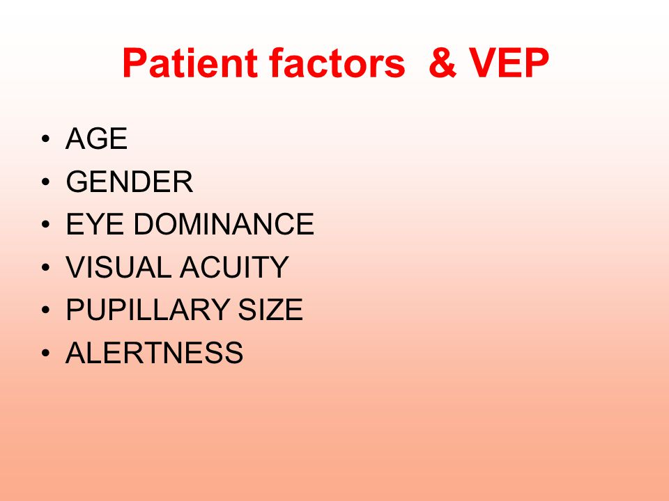 Patient factors & VEP AGE GENDER EYE DOMINANCE VISUAL ACUITY
