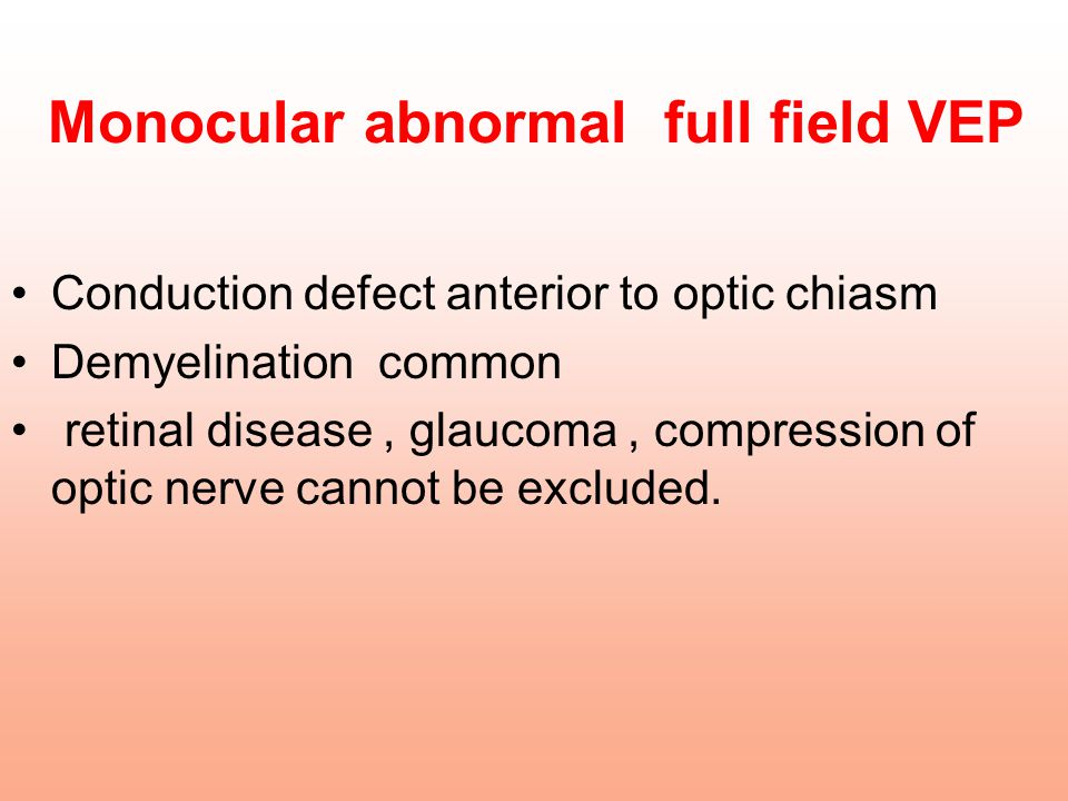 Monocular abnormal full field VEP