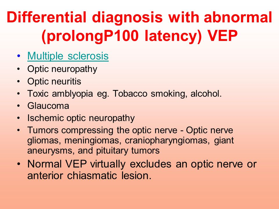 Differential diagnosis with abnormal (prolongP100 latency) VEP
