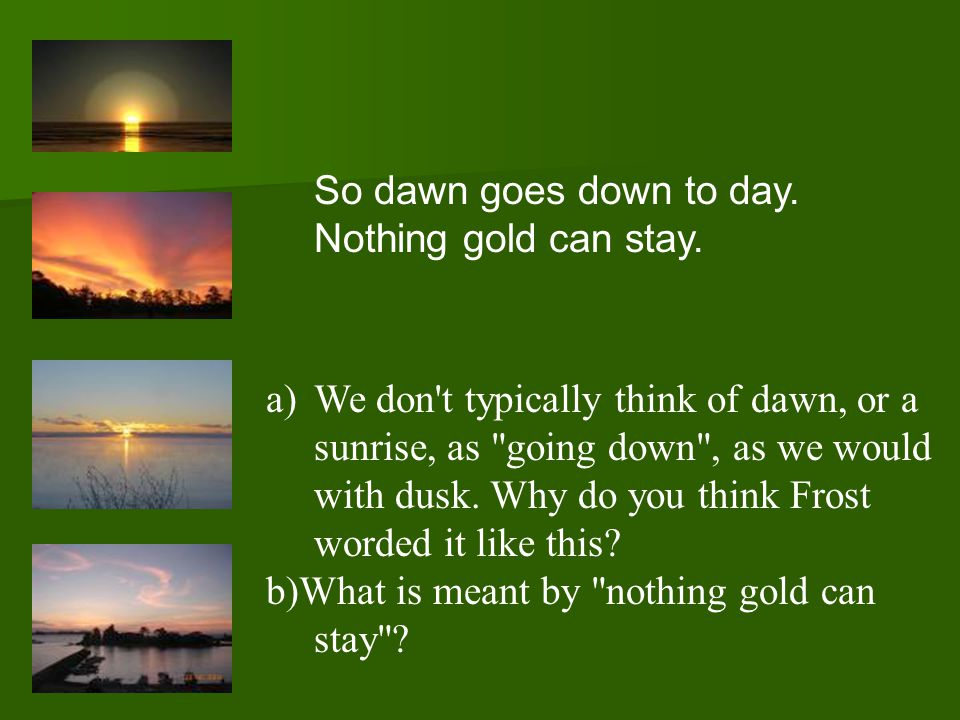 So dawn goes down to day. Nothing gold can stay.