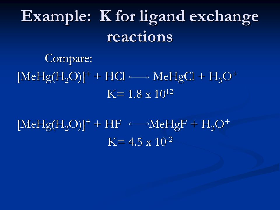 Example: K for ligand exchange reactions