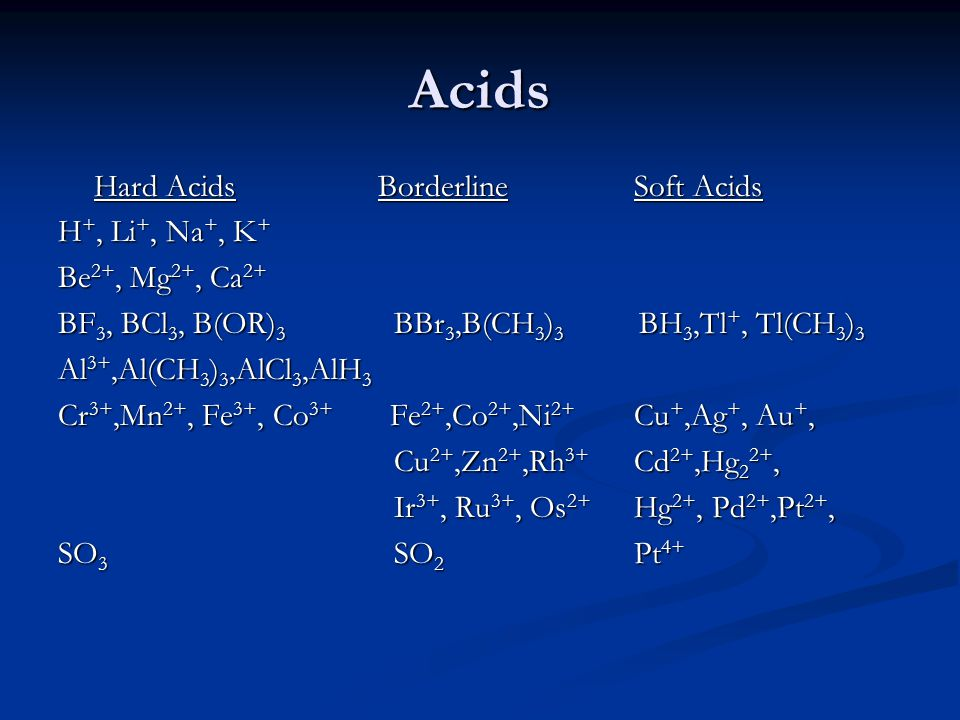 Acids H+, Li+, Na+, K+ Be2+, Mg2+, Ca2+