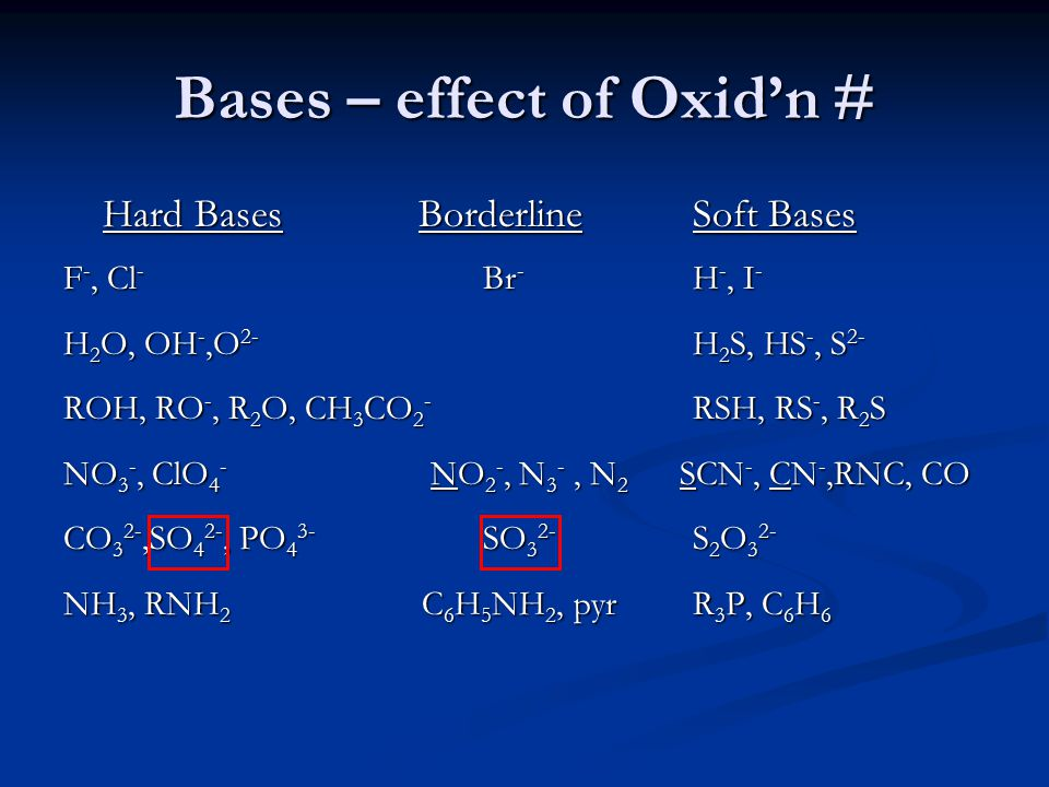Bases – effect of Oxid'n #