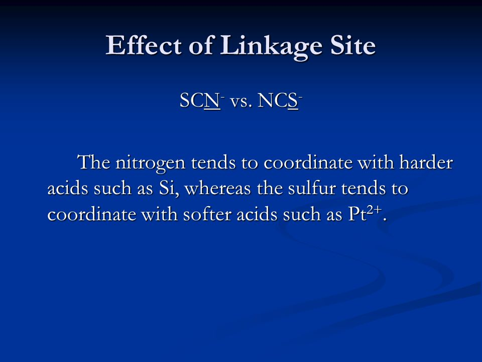Effect of Linkage Site SCN- vs. NCS-