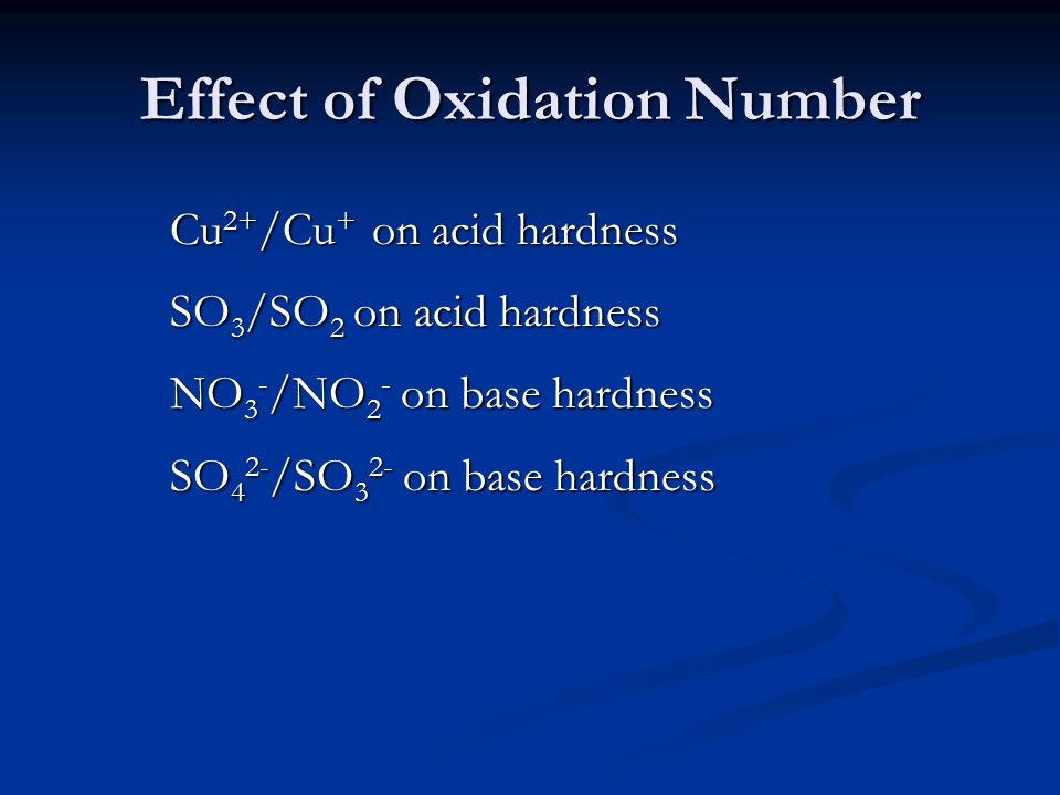 Effect of Oxidation Number