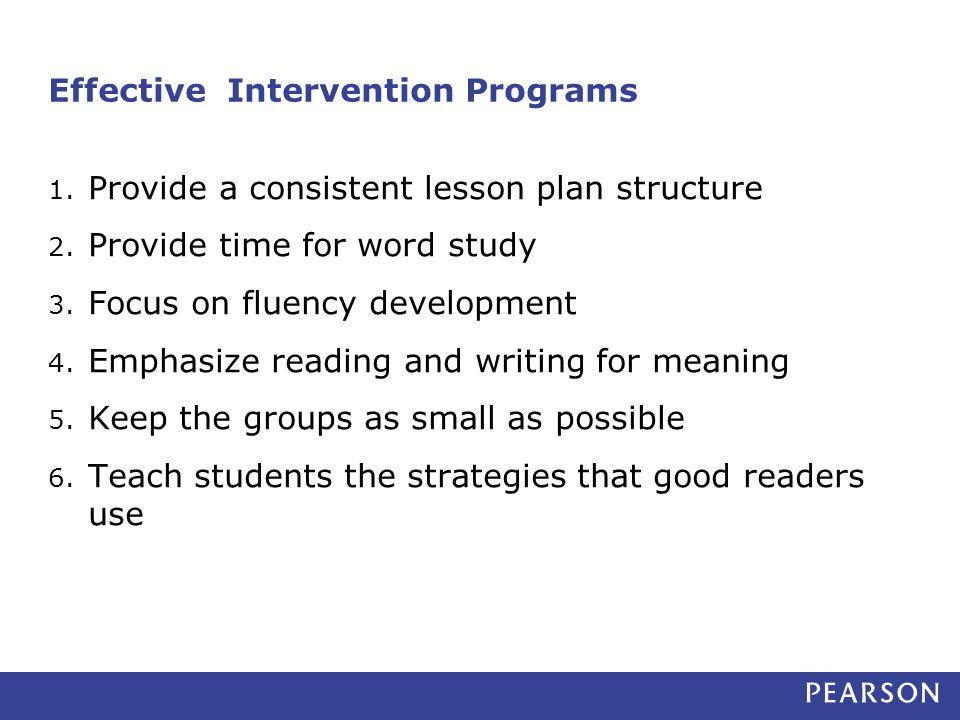 Effective Intervention Programs