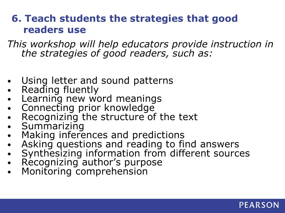 6. Teach students the strategies that good readers use