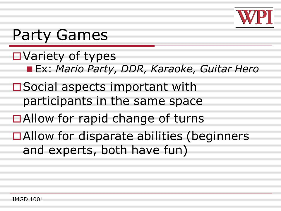 Party Games Variety of types