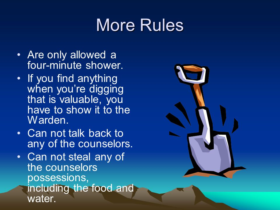 More Rules Are only allowed a four-minute shower.
