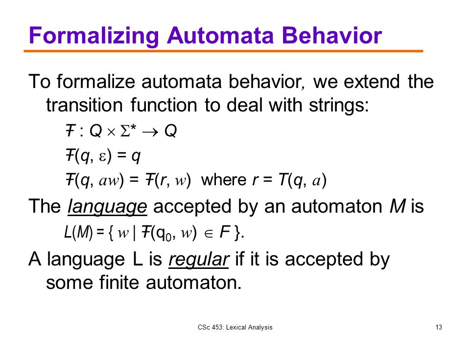 Formalizing Automata Behavior