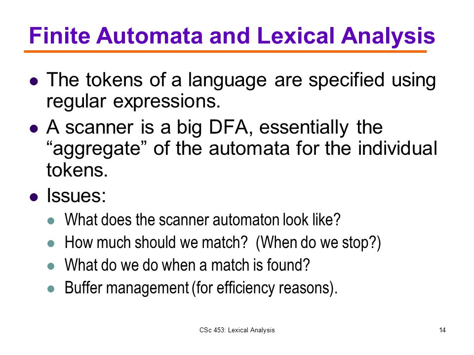 Finite Automata and Lexical Analysis