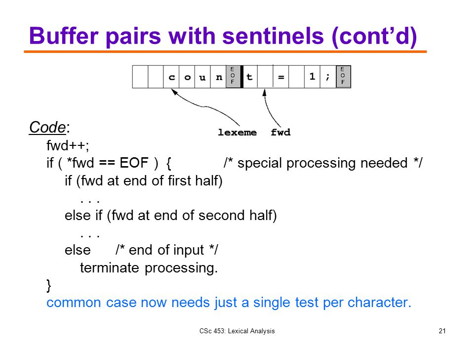 Buffer pairs with sentinels (cont'd)