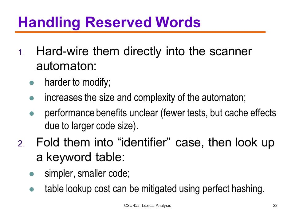 Handling Reserved Words