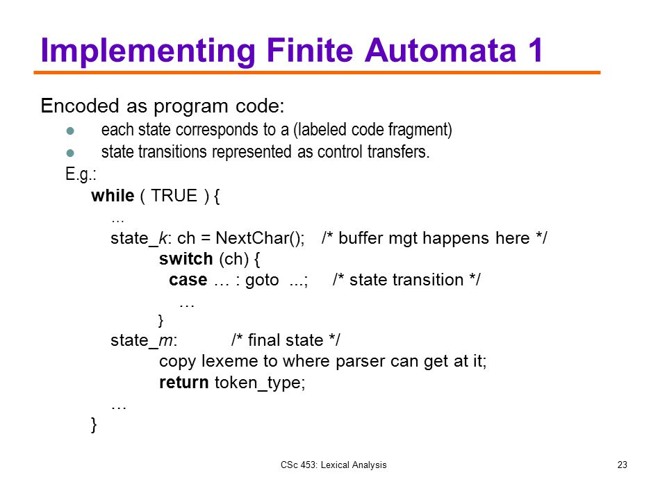 Implementing Finite Automata 1