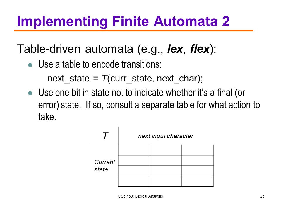 Implementing Finite Automata 2