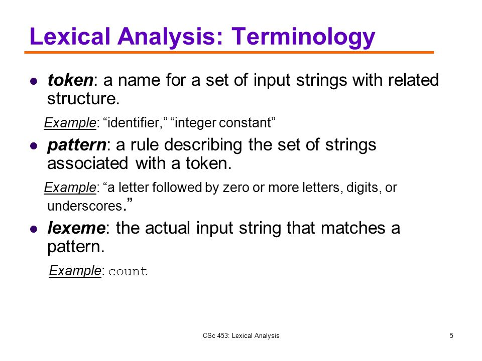 Lexical Analysis: Terminology