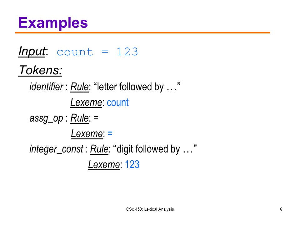 Examples Input: count = 123 Tokens: