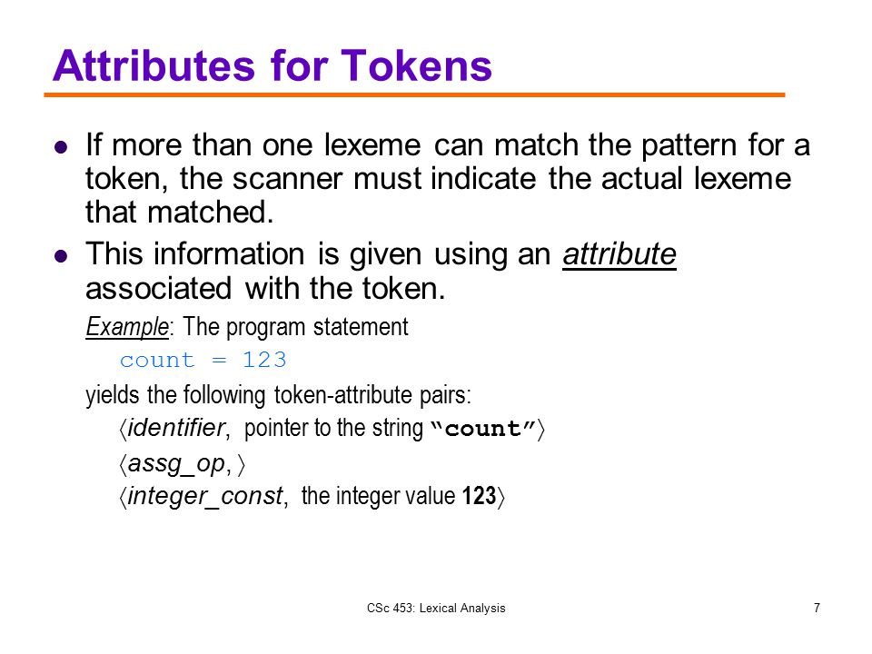 Attributes for Tokens If more than one lexeme can match the pattern for a token, the scanner must indicate the actual lexeme that matched.