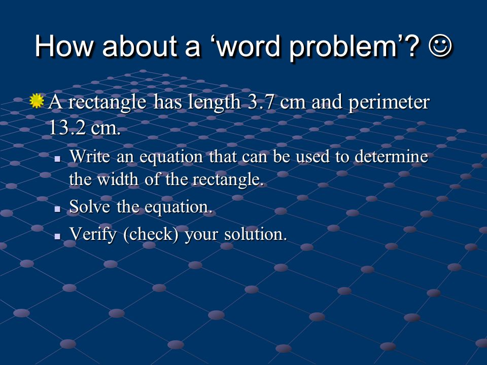 How about a 'word problem' 
