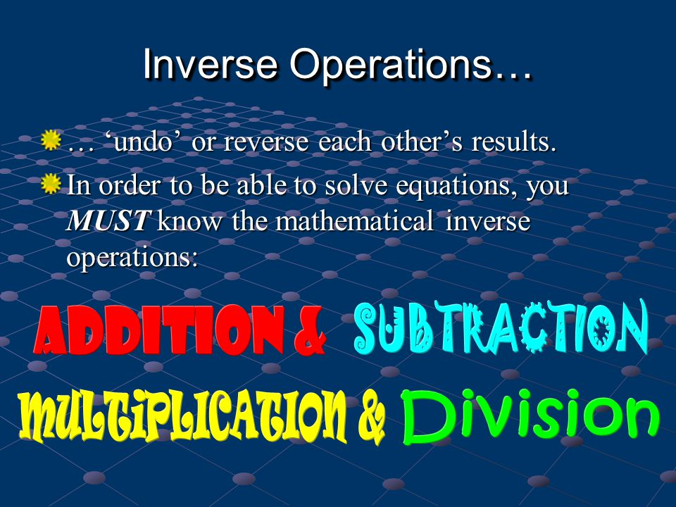 Inverse Operations… SUBTRACTION Addition & MULTiPLICATION & Division