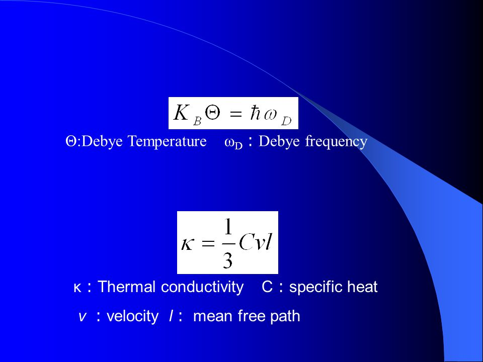 Θ:Debye Temperature ωD:Debye frequency