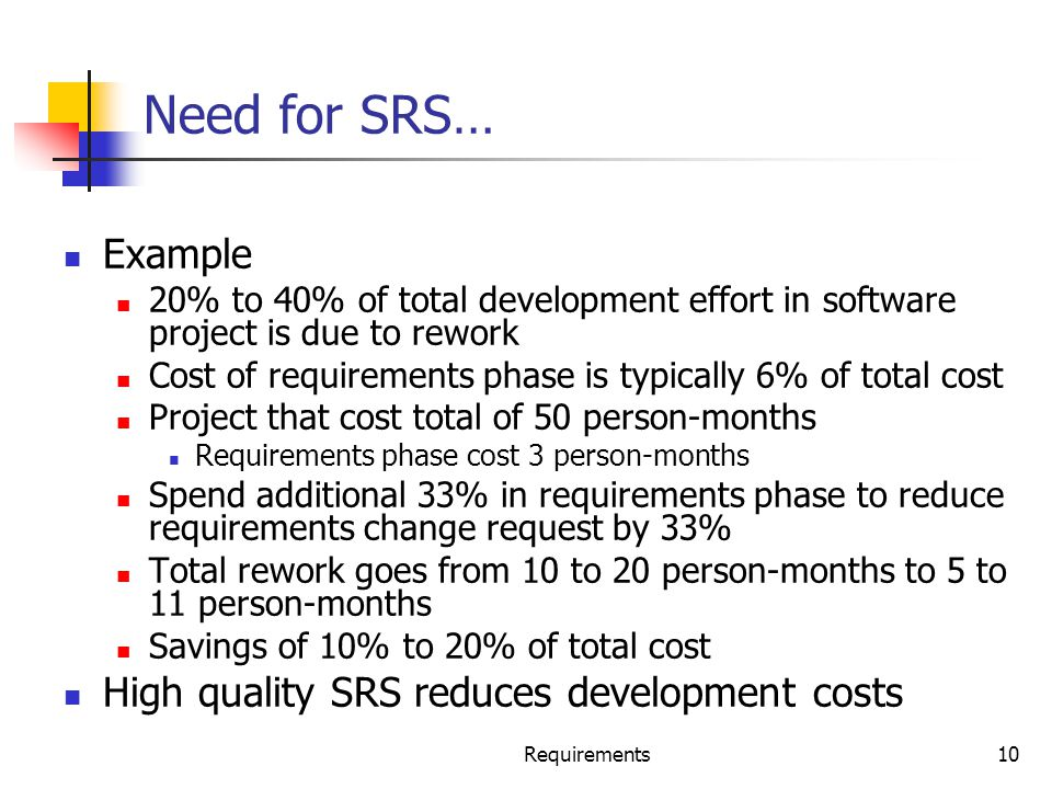 Need for SRS… Example High quality SRS reduces development costs