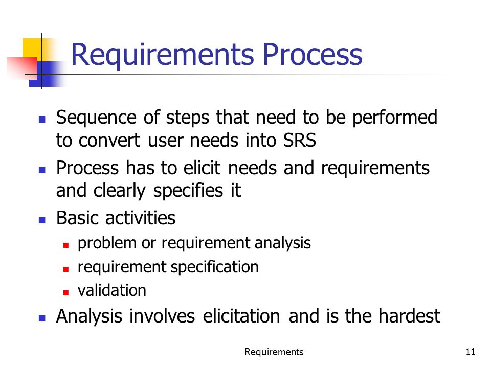 Requirements Process Sequence of steps that need to be performed to convert user needs into SRS.
