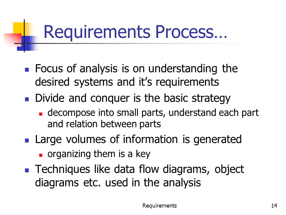 Requirements Process…
