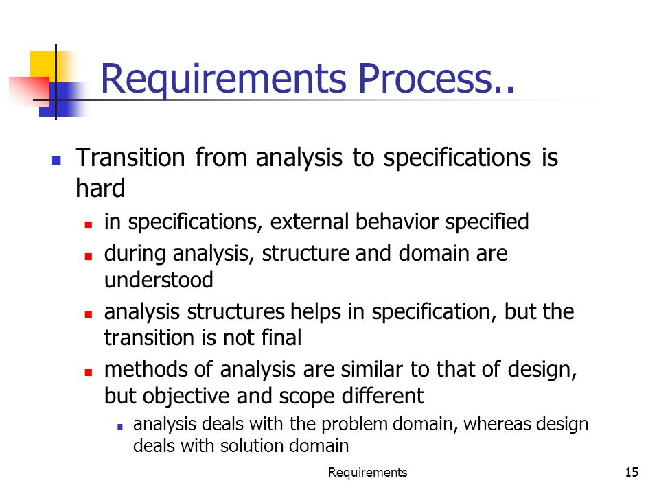 Requirements Process.. Transition from analysis to specifications is hard. in specifications, external behavior specified.
